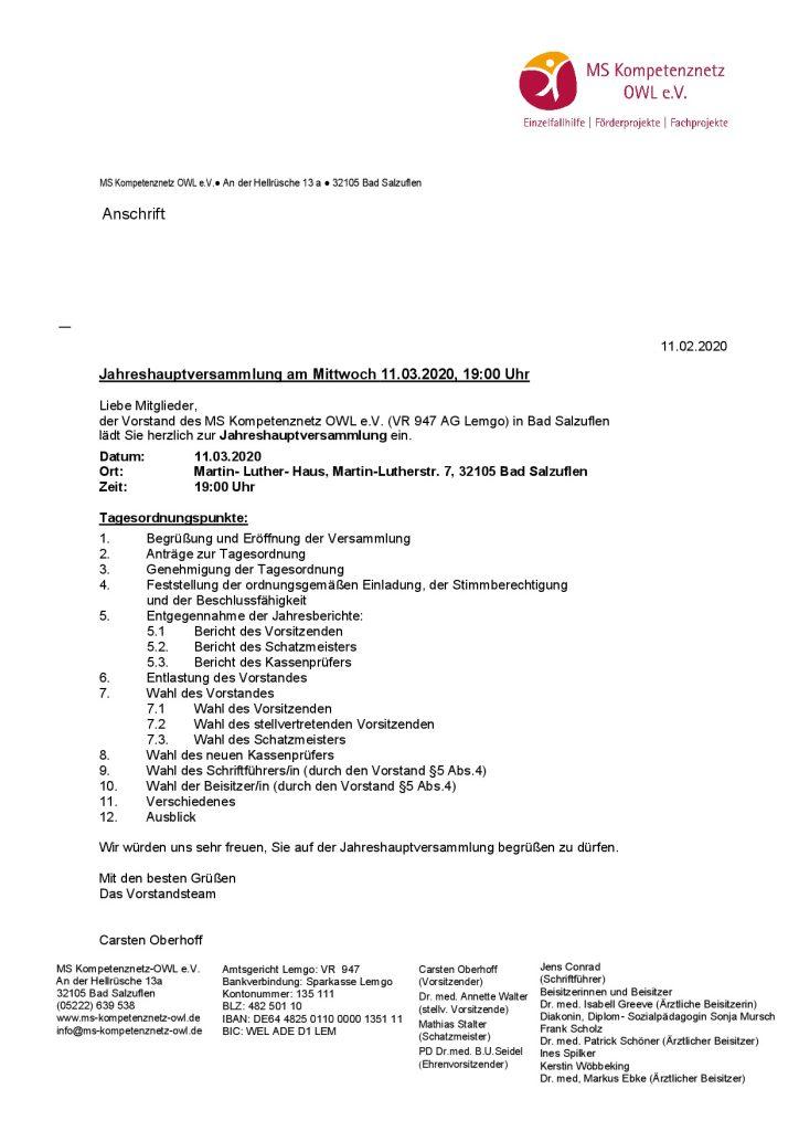11032020 Mitglieder- Einladung Jahreshauptversammlung 2020