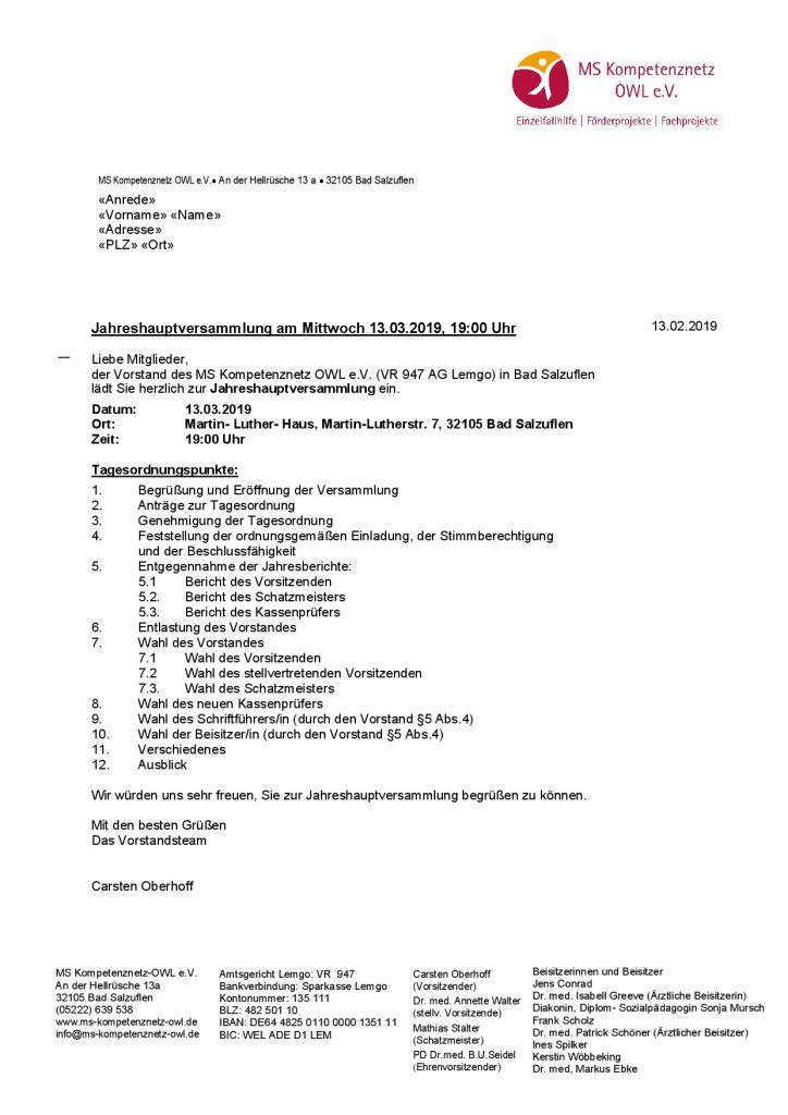 05022019 Mitglieder- Einladung Jahreshauptversammlung 2019